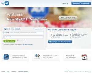 MyADT.com webpage