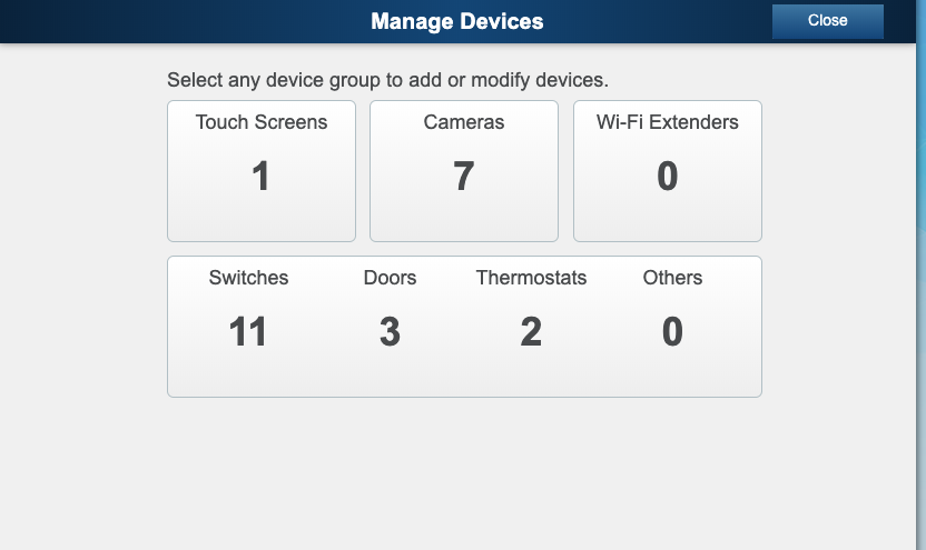 ADT Pulse Add Devices Screen Manage Devices
