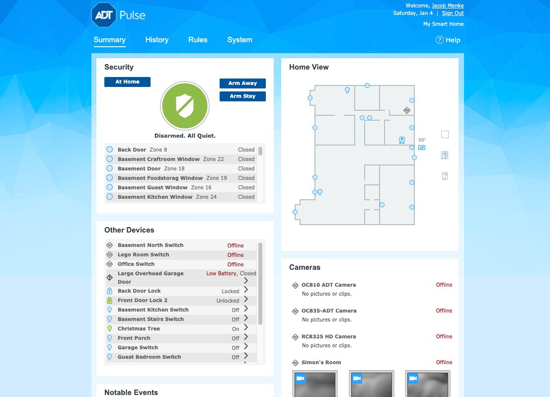 ADT Pulse Home Screen