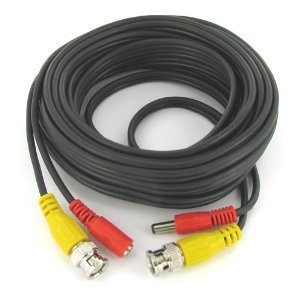 Premade Siamese Cable - Coax/power - 100ft Black