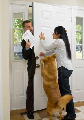 pushy door-to-door sales person