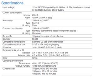 Wired ADT Carbon Monoxide Detector
