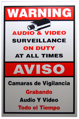 Security Camera Plastic Warning Sign Large