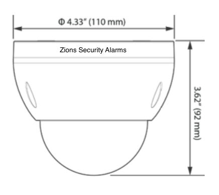 ADT Pulse Dome Camera MDC835 Dimensions