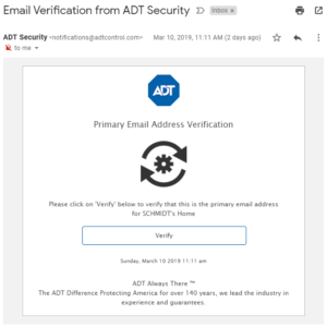 ADT Control Email Verification