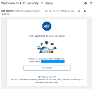 ADT Control Welcome Email